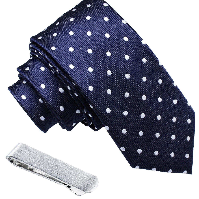 Mens Shinny Ties Polka Dots Polyester Necktie with Tie Bar Clip (2.5 inch Necktie) by HAWSON (Image #5)