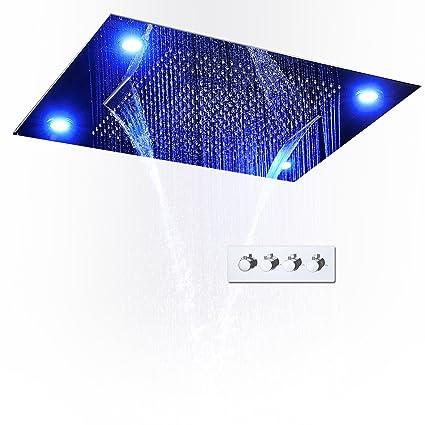 Juego De Ducha Termostática Con LED Control Remoto De Cascada Cabeza De Ducha Empotrada Mezclador De