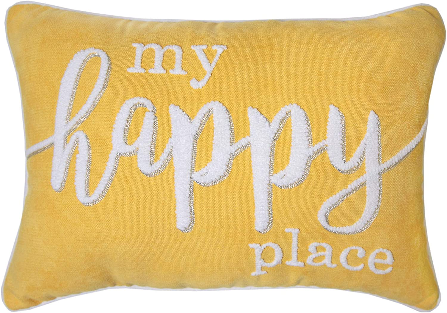 Amazon Com Bright And Beautiful My Happy Place Embroidered Decorative Pillow 14 X 20 Yellow White Pillow Home Kitchen