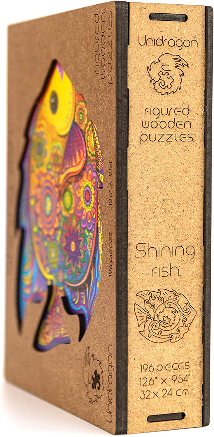 Small 101 pieces 7 x 9.2 inches Unidragon Wooden Jigsaw Puzzles Unique Shape Jigsaw Pieces Best Gift for Adults and Kids Shining Fish