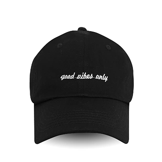 Image Unavailable. Image not available for. Color  Good Vibes Only Embroidered  Dad Hat 100% Cotton ... d65d701d7712