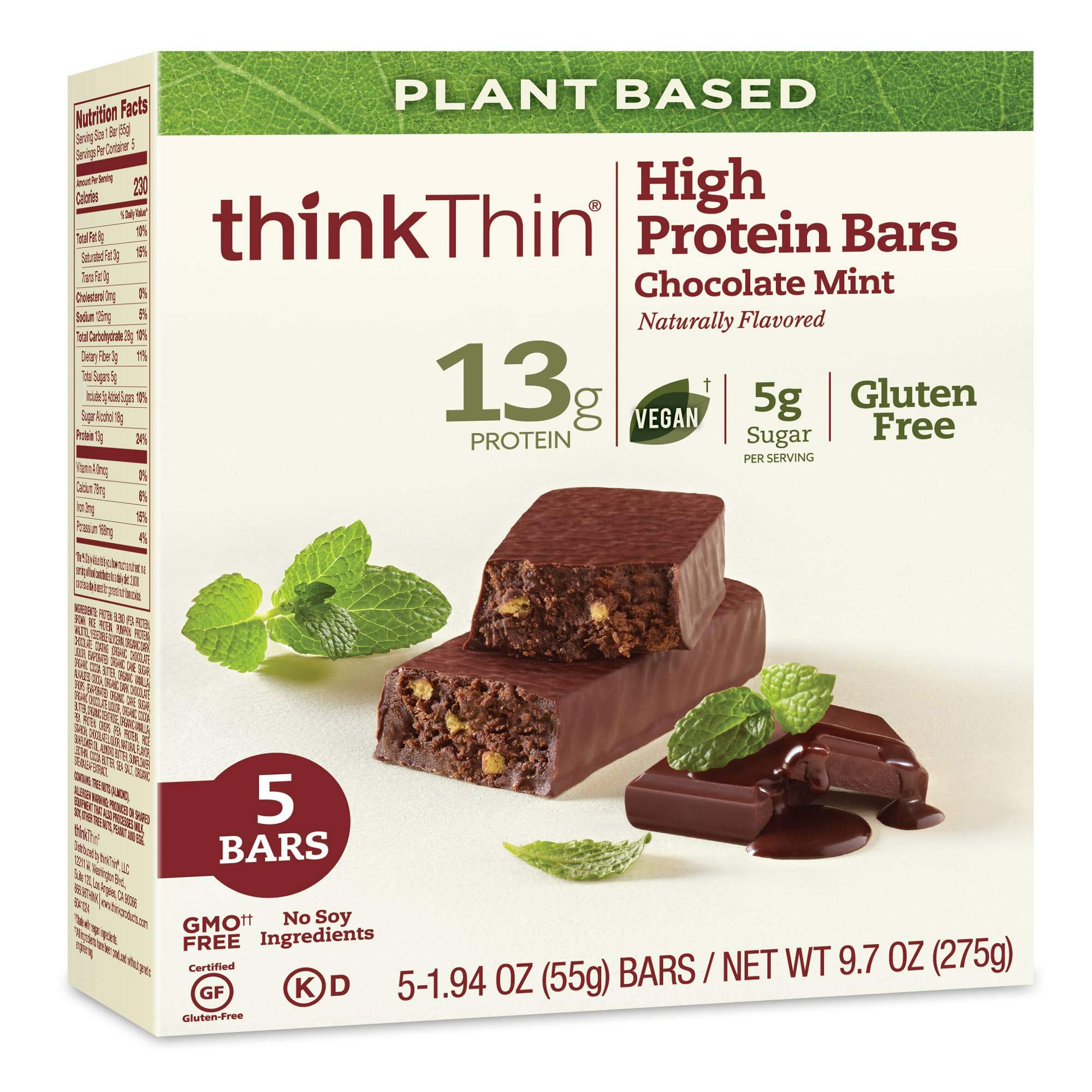Think Thin Plant Based Chocolate Mint High Protein Bar, 5 count per pack - 24 per case.