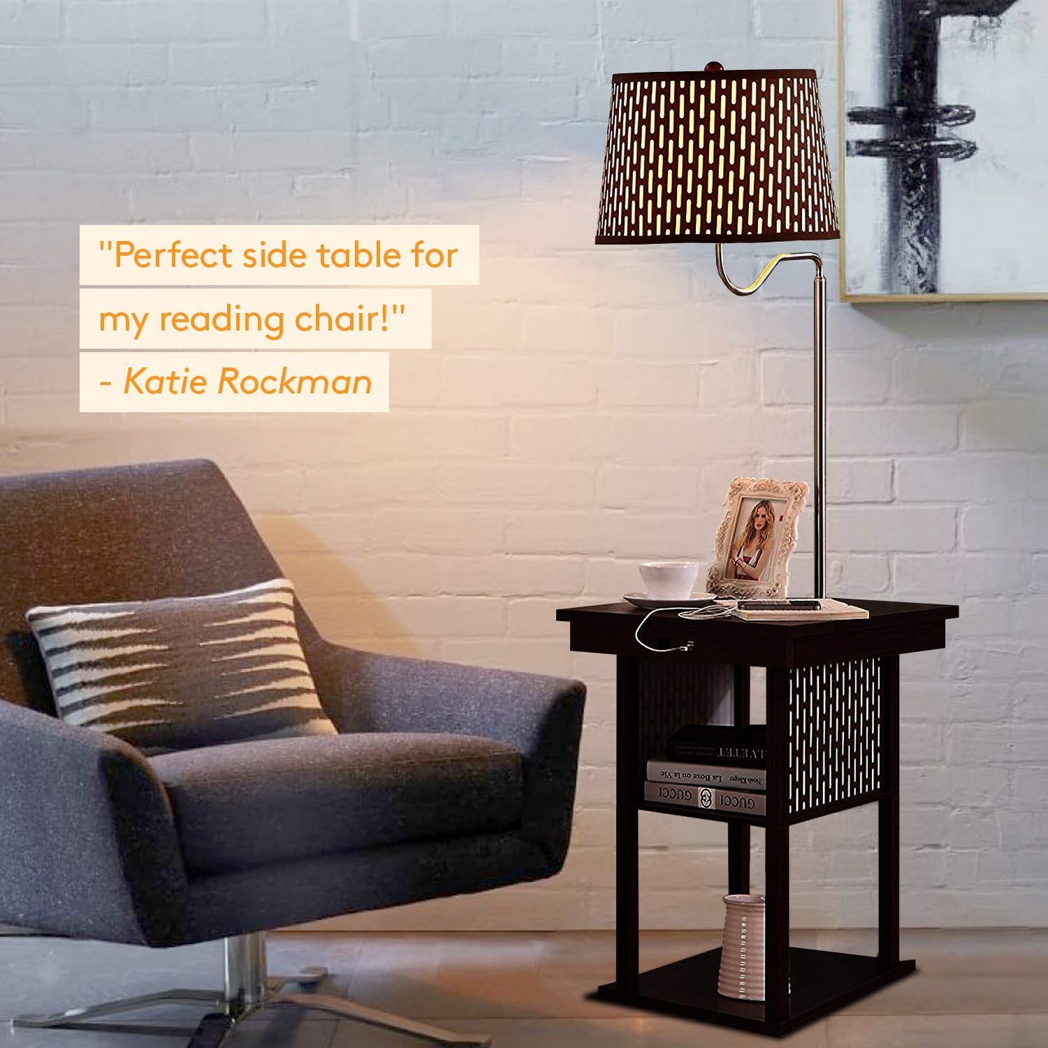 Brightech Madison - Mid Century Modern Nightstand, Shelves & USB Port Combination - Bedside Table with LED Floor Lamp Attached - End Table for Living Room Sofas - Brown by Brightech (Image #4)