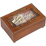 Sister Rich Walnut Finish Petite Jewelry Music Box - Plays Amazing Grace