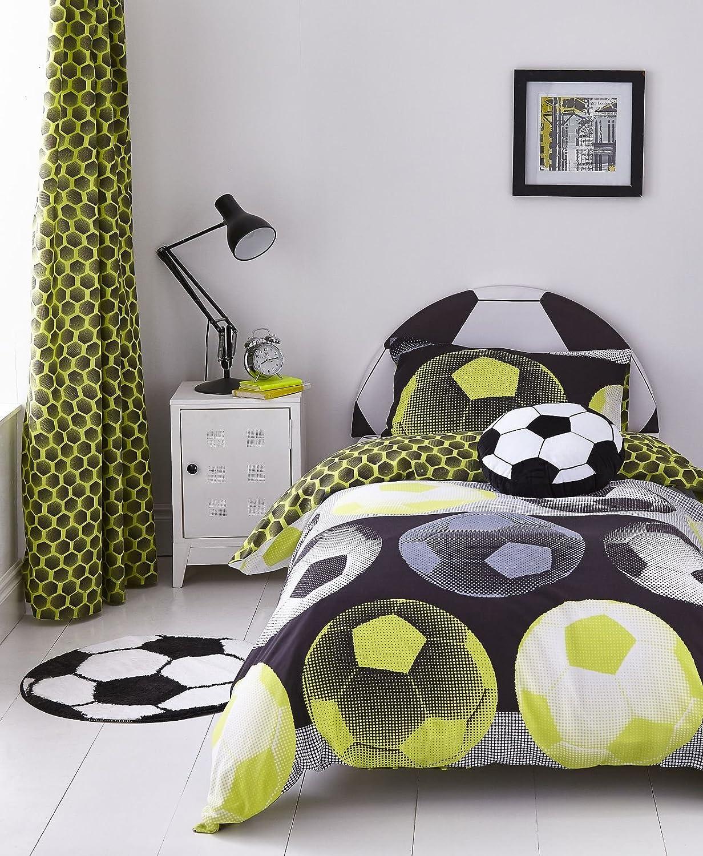 Catherine Lansfield Neon Football Easy Care Double Duvet Set Yellow Turner Bianca BD/26104/W/DQS/YE
