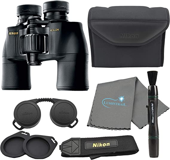 Nikon Aculon A211 10x42 Binoculars Black (8246) Bundle with a Nikon Lens Pen and Lumintrail Cleaning Cloth