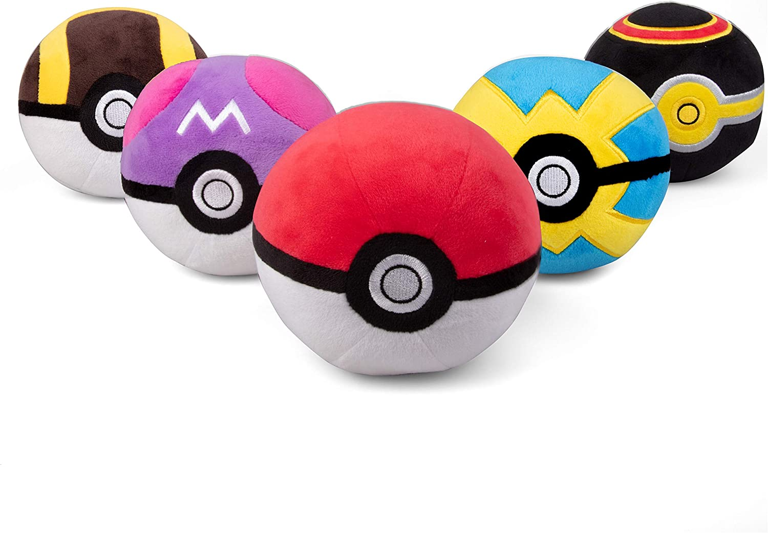 """Pokémon Pokéball Plush 5-Pack - Includes Poke, Master, Ultra, Quick, Luxury Ball - Soft Stuffed Pokéballs with Weighted Bottom - 4"""" Each - Ages 2+"""