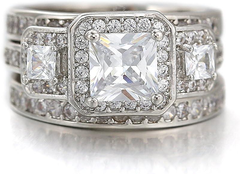 Amazon Com Shine Jewelry Luxury Vintage Square Halo White Gold