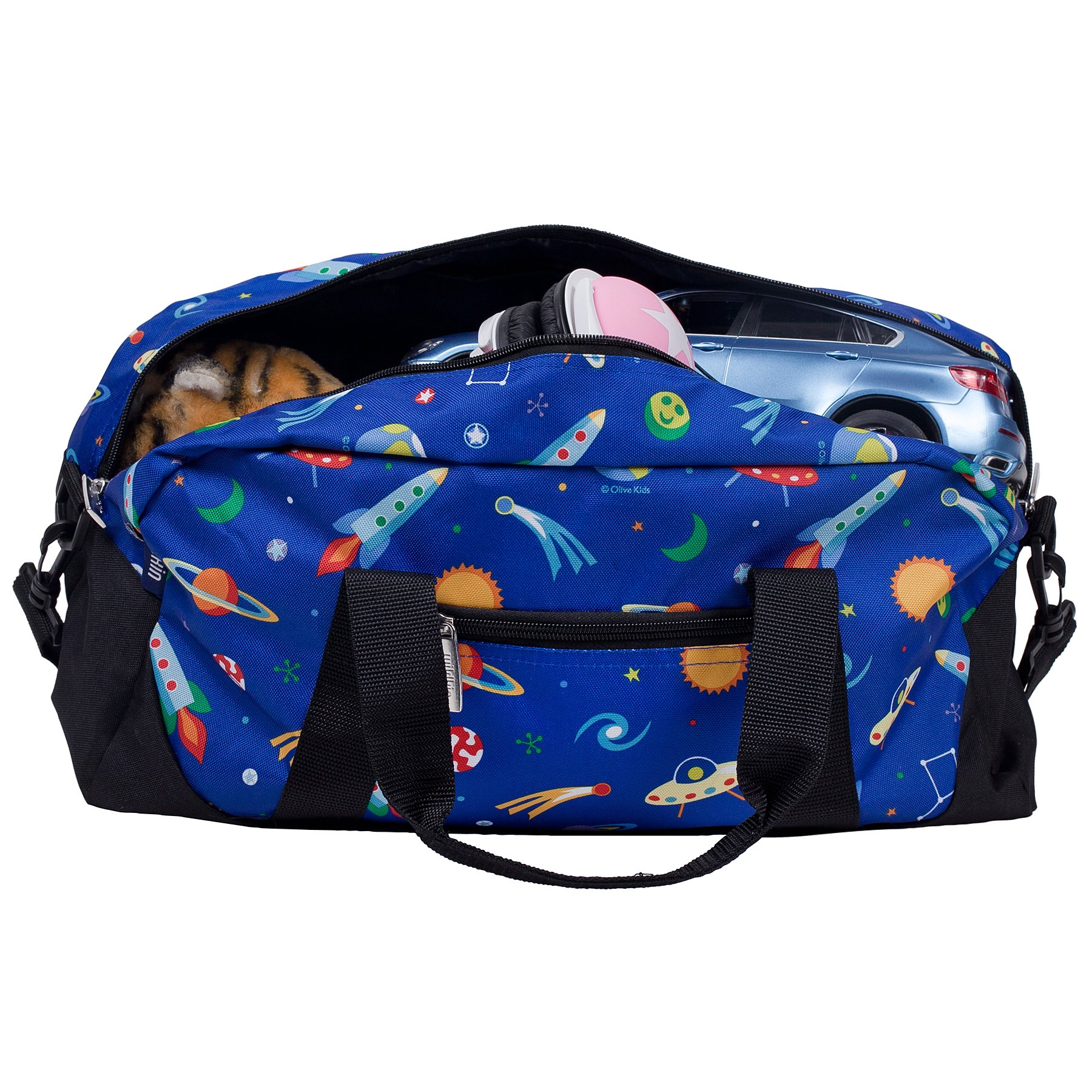 Wildkin Overnighter Duffel Bag, Features Moisture-Resistant Lining and Padded Shoulder Strap, Perfect for Sleepovers, Sports Practice, and Travel, Olive Kids Designs – Out of this World by Wildkin (Image #3)