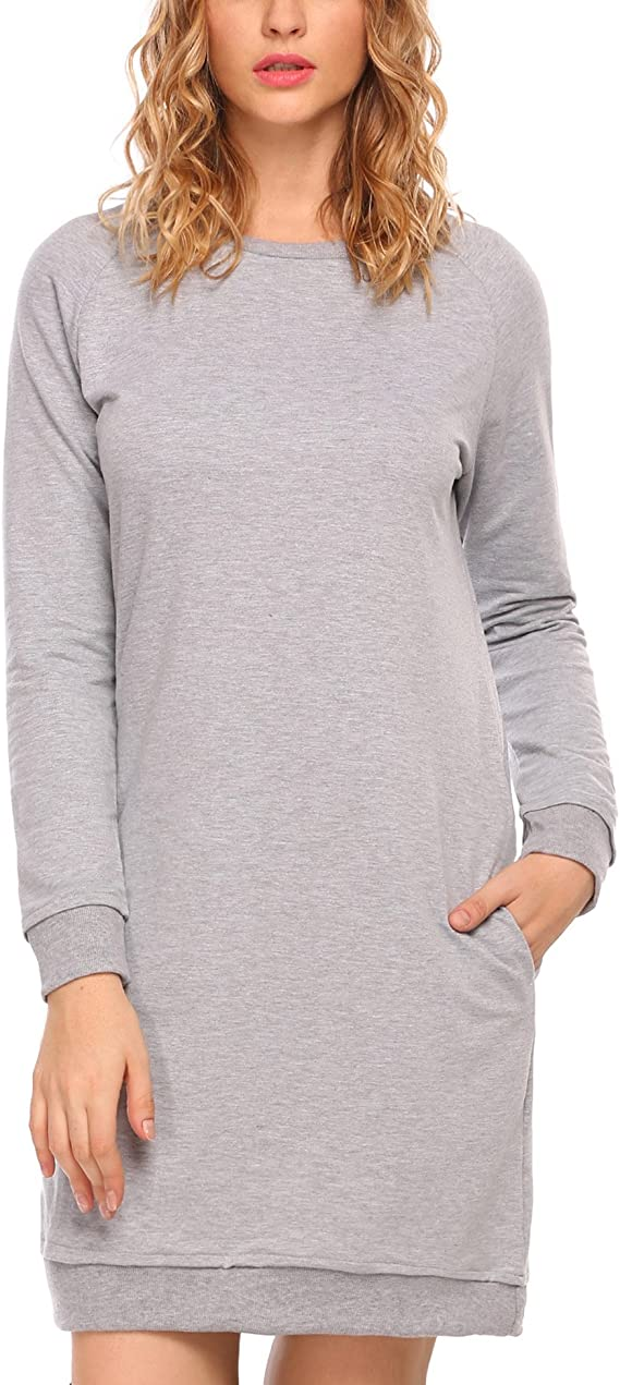 ACEVOG Women's Sweatshirt Long Sleeve Round Split Hem Hoodie Dress with side Pockets