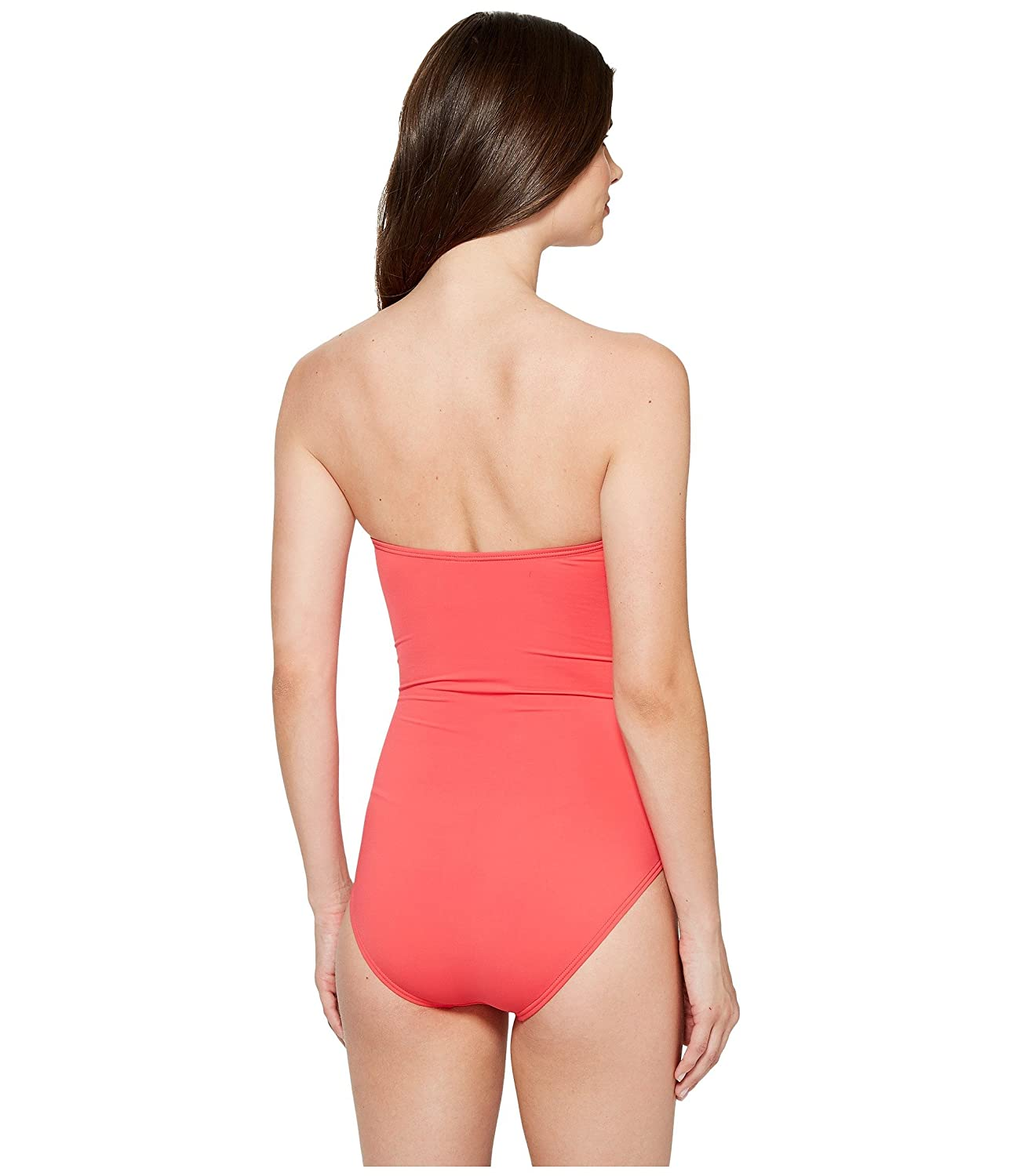 Tommy Bahama Pearl V-Front Bandeau One-Piece Swimsuit Calypso Pink Size 8