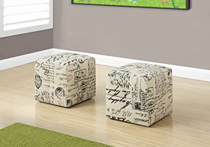 Monarch 2 Piece French Script Print Ottoman, Off White/Black