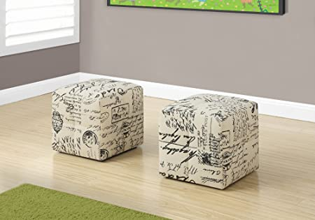 Monarch 2 Piece French Script Print Ottoman, Off-White Black
