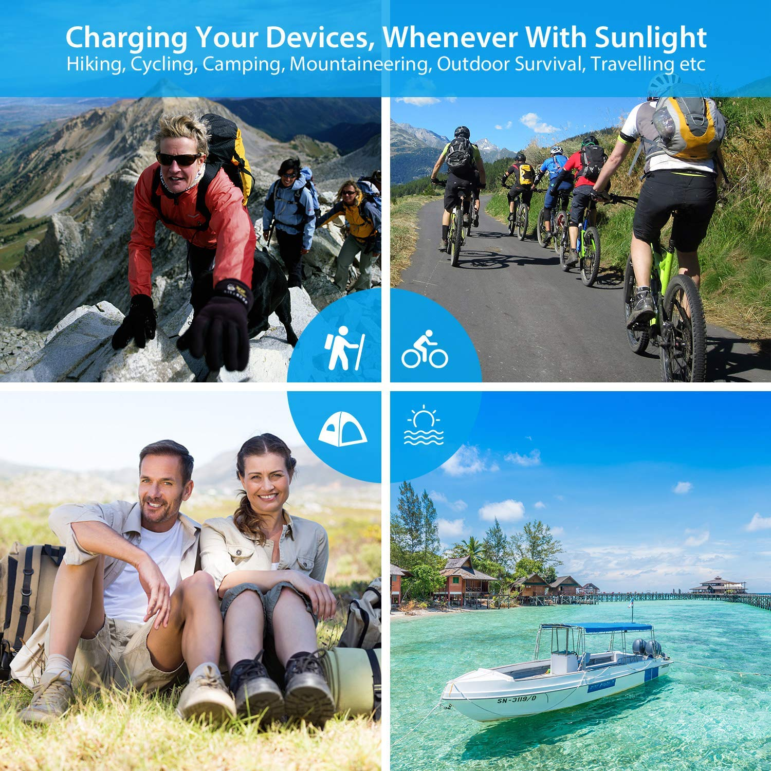 21W Portable Foldable Solar Panel Charger, Dual USB 2.4A Fast Solar Charger,Portable Outdoor Solar Power Charger for Camping,Hiking, Portable Charger for iPhone X 8,iPad,Android,Galaxy S8 Edge,More by WISSBLUE (Image #7)