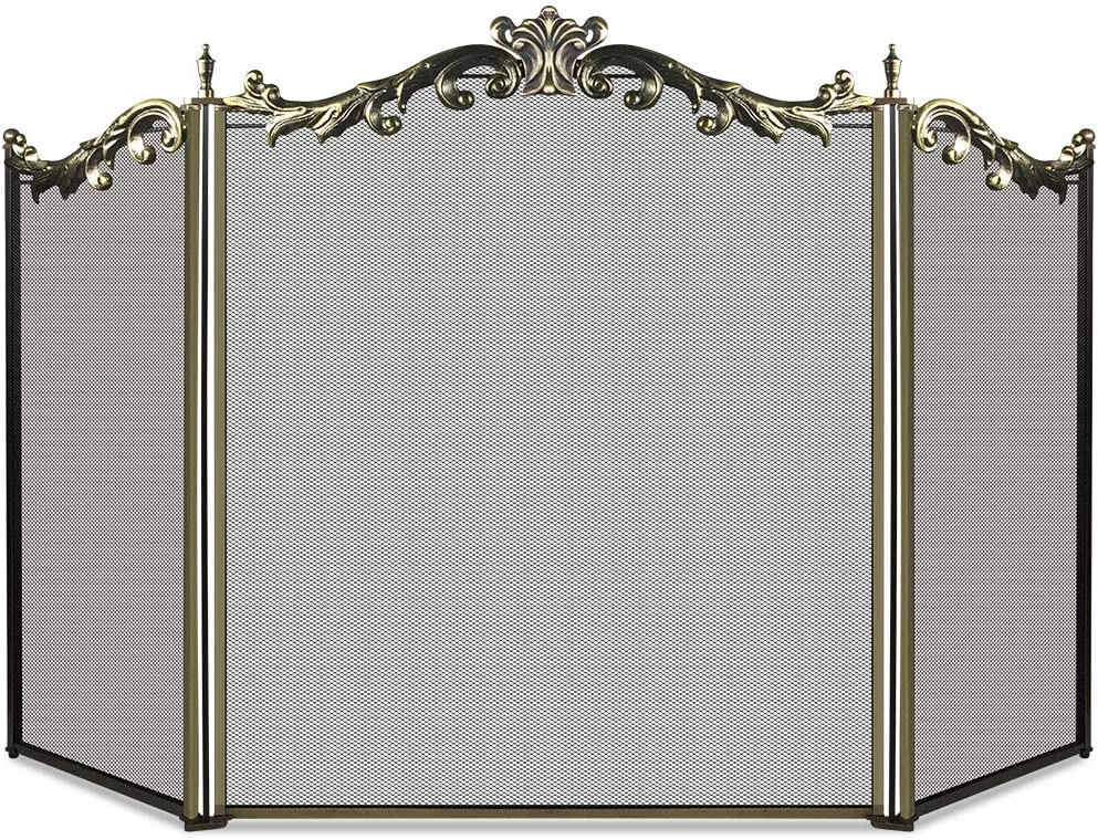 Fire Guard With Carry Handle Large Arched Black Freestanding Fire Screen