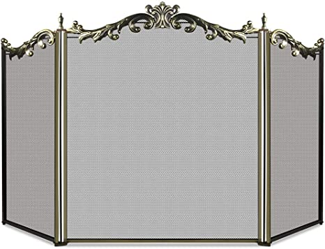 Amazon Com Amagabeli Large Floral Fireplace Screen 3 Panel Bronze Wrought Iron Metal Decorative Mesh Standing Gate Solid Baby Safe Proof Fence Steel Spark Guard Cover Outdoor Fireplace Tools Accessories 31 Home
