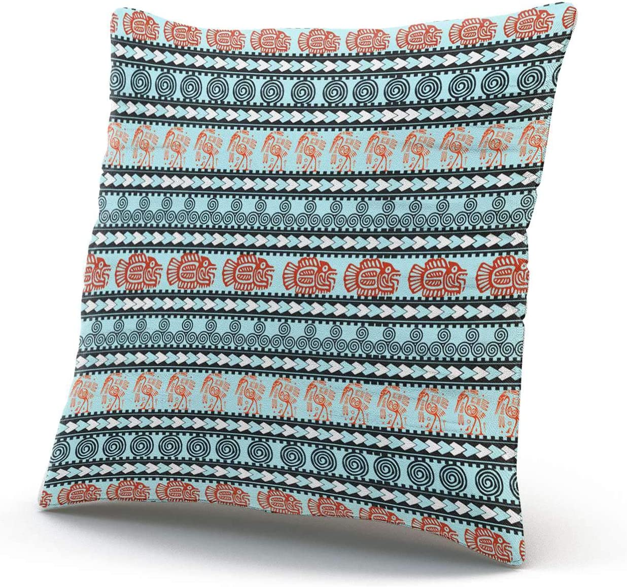 Suike Teal Red Black Mexican Tribal Aztec Beauty Hidden Zipper Home Decorative Rectangle Throw Pillow Cover Cushion Case Boudoir 12x20 Inch One Side Design Printed Pillowcase