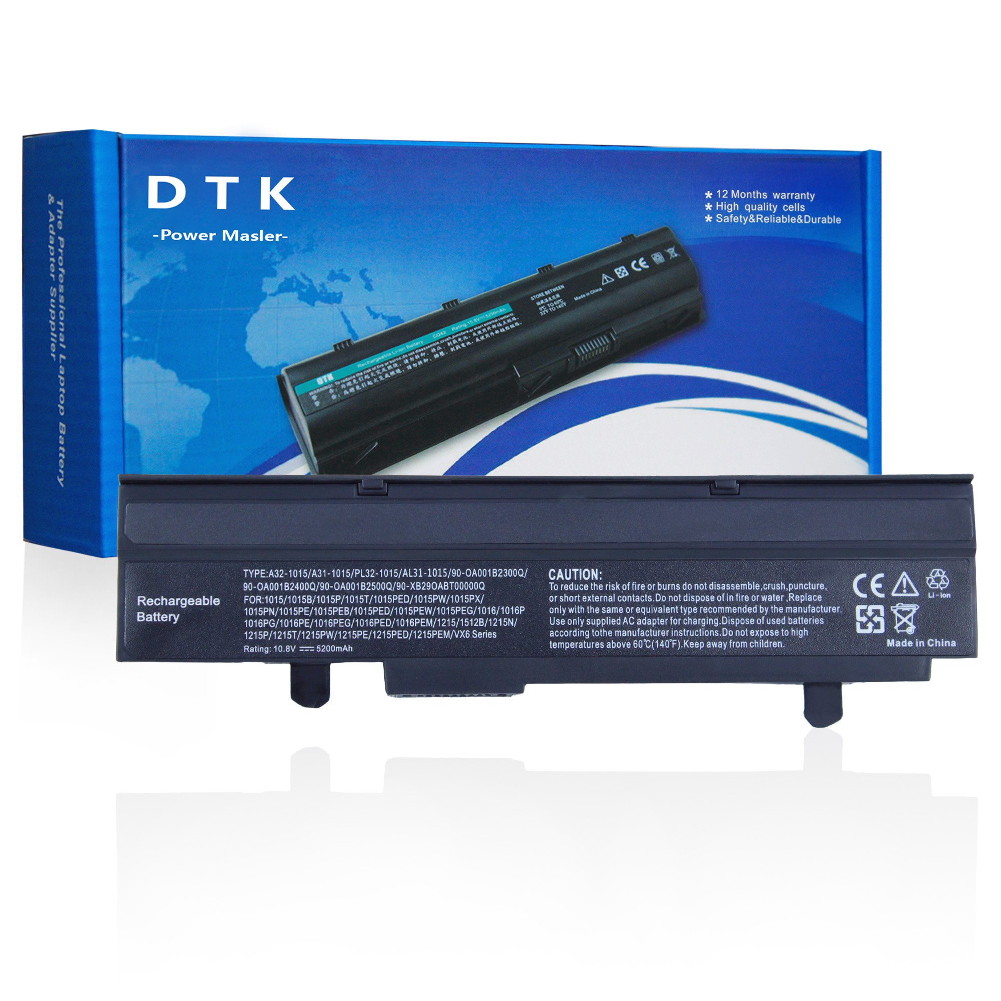 DTK 10.8V 5200mAh Laptop Battery Replacement for ASUS Eee PC 1015 Series 1015B 1015P 1016 Series 1215 1215B VX6 Series / A31-1015 A32-1015 AL31-1015