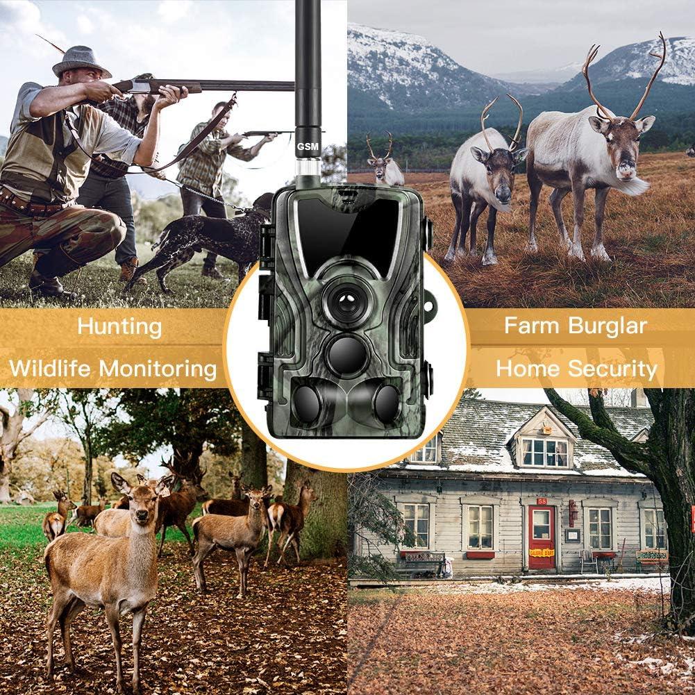 Sugeryy 2G Cam/éra de Chasse Cam/éra de Surveillance /Étanche 16MP 1080P HD 25m Grand Angle 120/° De Vision Nocturne Traque IR Cam/éra de Jeu Nocturne Infrarouge HC-810M