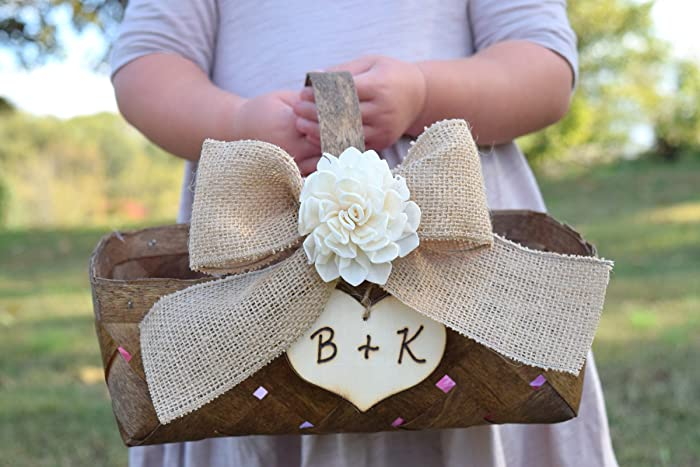 Amazon.com: Shabby Chic Flower Girl Basket - Rustic Flower Girl ...
