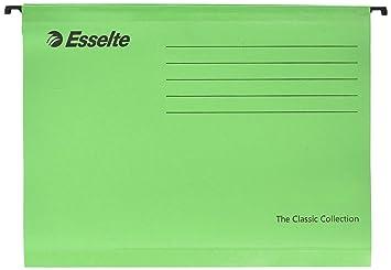 Esselte Carpeta colgante, Tamaño A4, Cartón kraft reciclado, Visor de plástico transparente, Verde, Classic, 90318, Caja de 25: Amazon.es: Oficina y ...