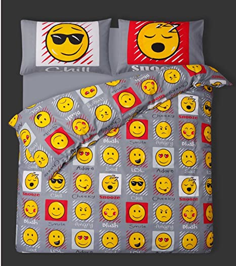 Double Bed Emoji Duvet Cover Bedding Set Smiley Face Emoticons Easy Care  Polycotton