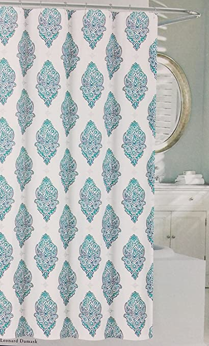 Nicole Miller Shower Curtain Leonard Damask Turquoise