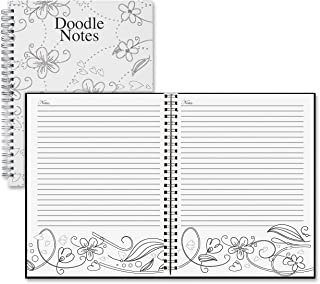 "product image for House of Doolittle Notebook, Doodle Flower Black & White, 7 x 9"" (HOD78190)"