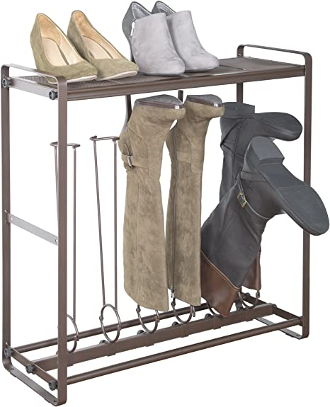 Amazon Com Richards Homewares 6 Pairs Boot Rack Organizer Durable Steel Bronze Finish Hold Up To 3 Tall Boots And 3 Short Boots Good For Riding Boots Rain Boots And Shoes Space Saving