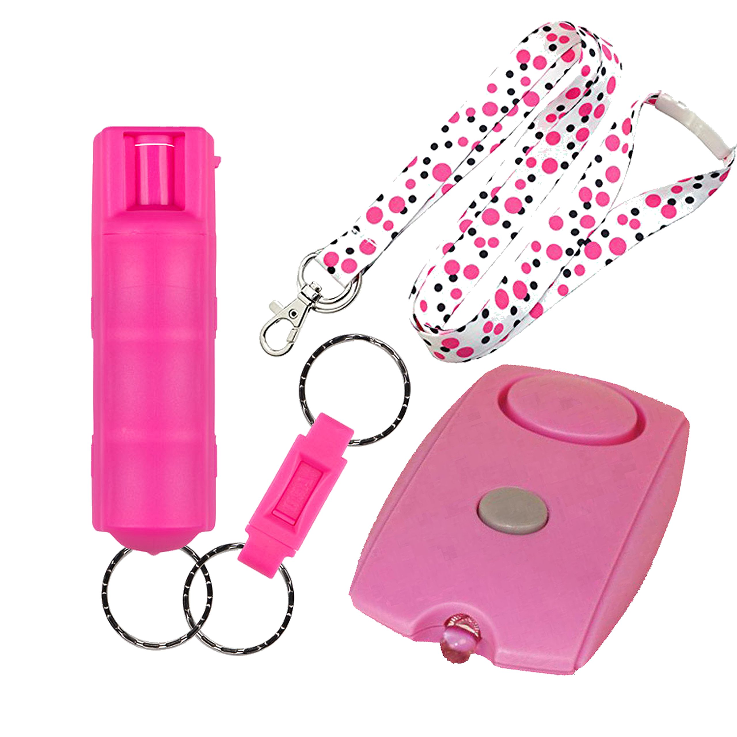 College Safety Bundle: Sabre Pink Campus Pepper Gel, a Personal Alarm and a 36'' Polka Dot Breakaway Lanyard - Lot of 3 as Shown