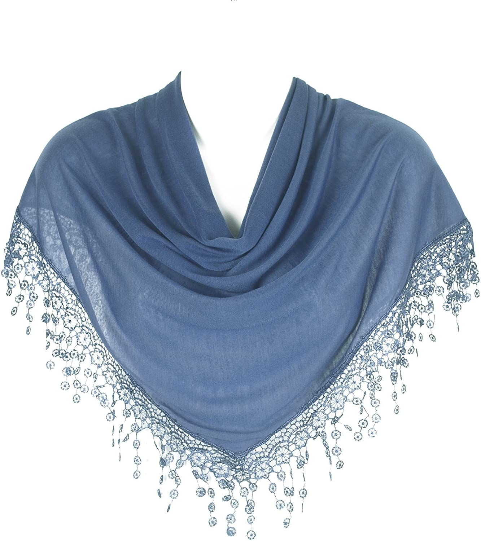 Hat To Socks Stylish Triangle Bobbin Lace Fringed Ladies Womens Scarf Shawl Wrap
