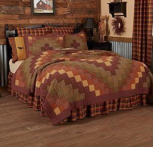 VHC Brands Primitive Bedding Settlement Cotton Pre-Washed Patchwork California King Quilt, Burgundy Red