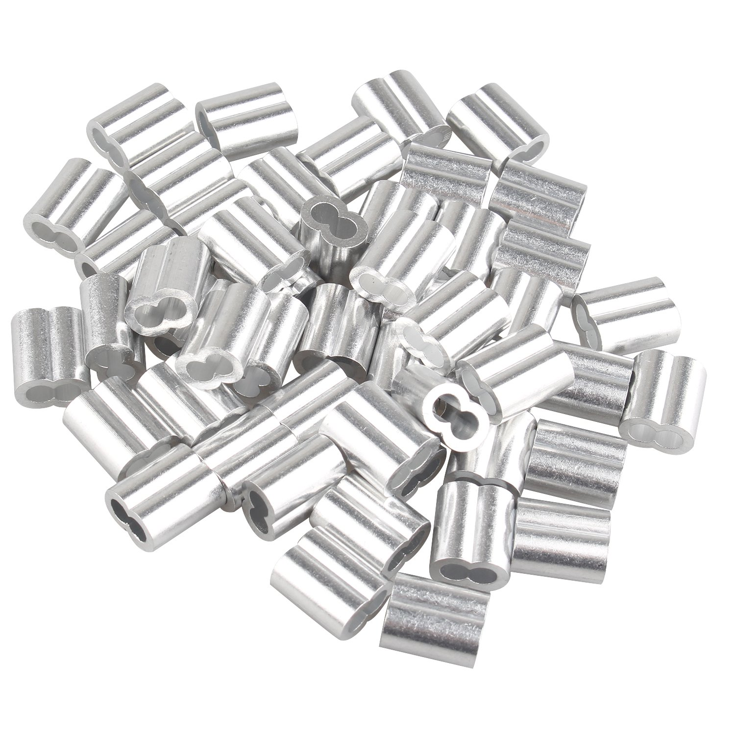 50 pcs Aluminum Crimping Loop Sleeve Clips with Double Ferrules/Holes for 4.0mm Cable Wire Rope Silver Tone Fushengda