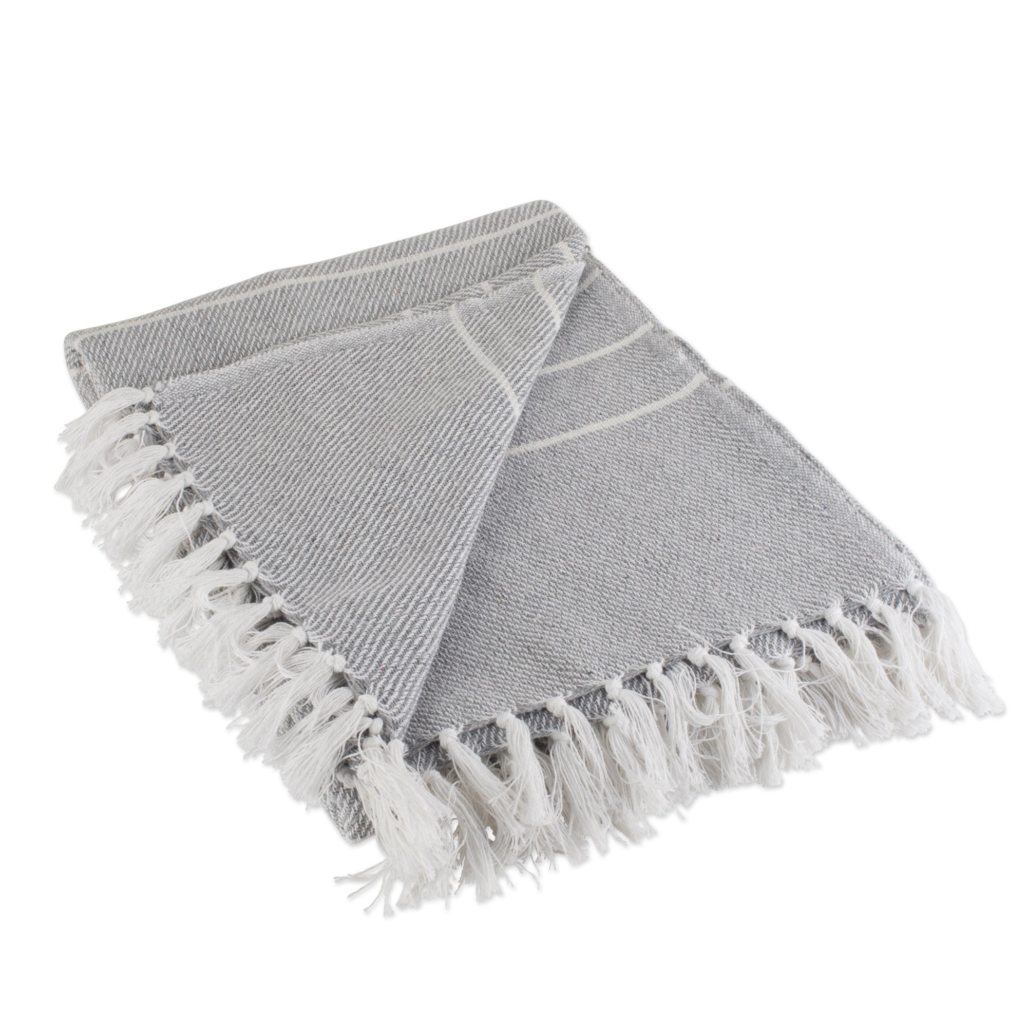 DII Rustic Farmhouse Cotton Thin White Striped Blanket Throw with Fringe for Chair, Couch, Picnic, Camping, Beach, Everyday Use, 50 x 60 - Gray