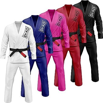 Brazilian de Jiu Jitsu BJJ Gi Kimono Tissu Pr/é-r/étr/éci 100/% Coton Schwarzbull Vitals avec Ceinture Blanche Gratuite