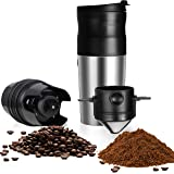 ChefGiant Portable Coffee Maker with Grinder | USB Rechargeable Insulated Stainless Steel Travel Cup with Built-In Automatic