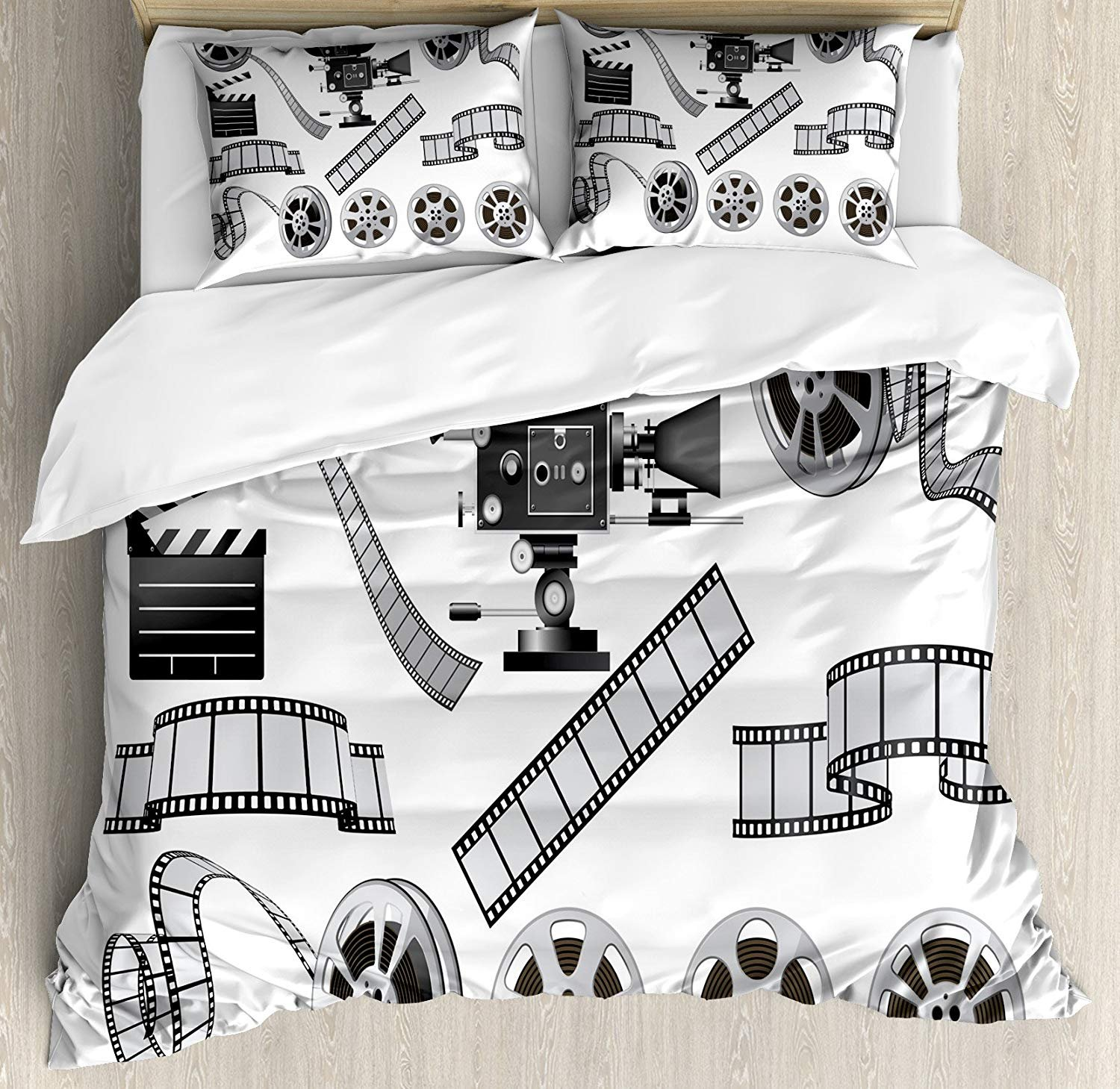 Movie Theater Bedding Sets, Movie Industry Themed Greyscale Illustration of Projector Film Slate and Reel, 4 Piece Duvet Cover Set Bedspread for Childrens/Kids/Teens/Adults, Grey Black,Twin Size