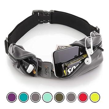 Bolso Cinturon Deportiva - Riñonera Running - Running Belt iPhone 6, 7 Plus para Corredores - Cinturón para Fitness con Dos Bolsillos (Gris - Negro): ...