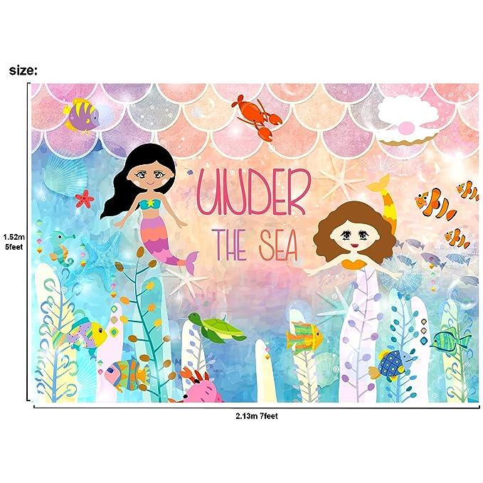 Amazon.com: musykrafties bajo el mar sirena princesa telón ...