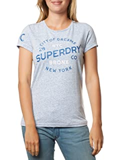 Superdry Tee Shirt Femme Made Authentic AOP Entry Gris