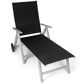 vanage chaise longue avec surface textile remboure transat de jardin avec 2 roulettes - Transat Balcon