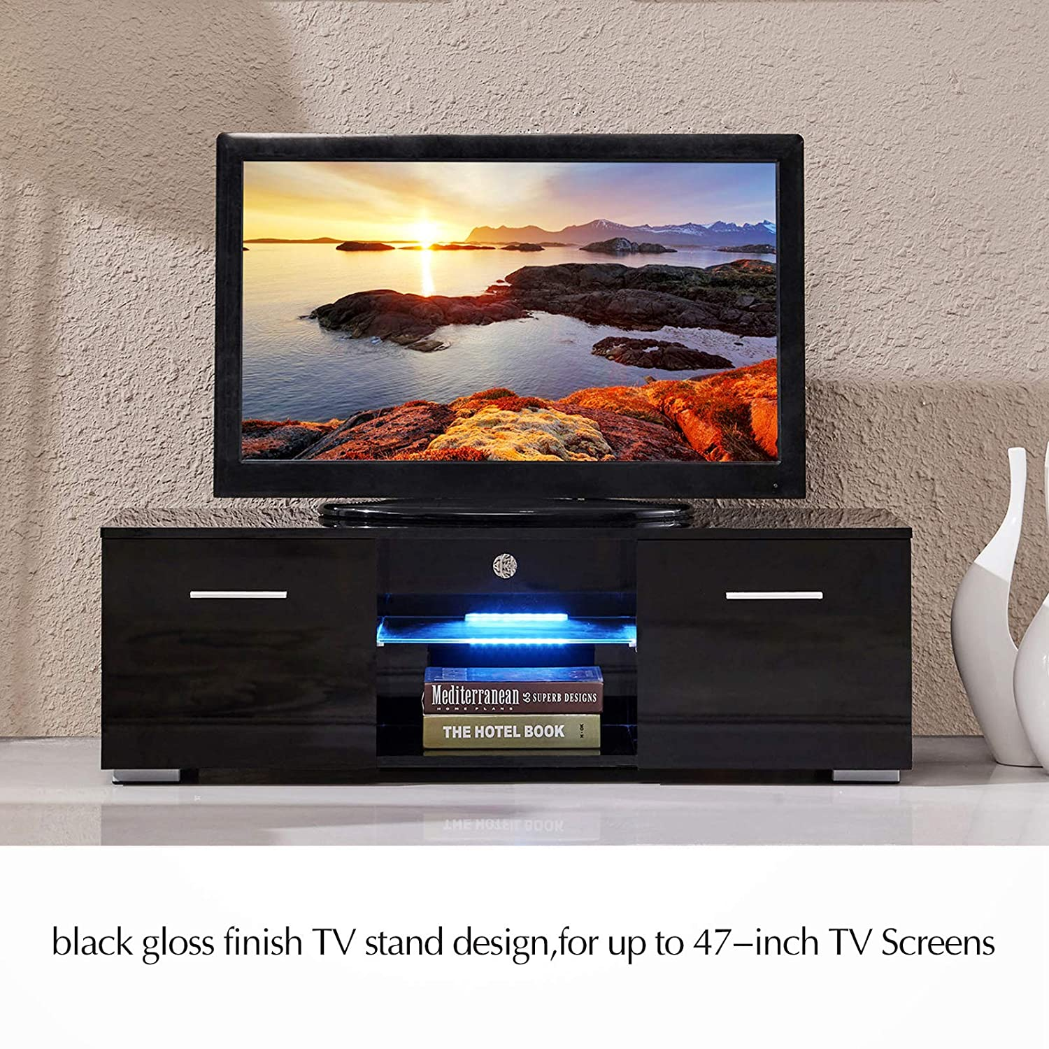 New Tv Stand Designs : Amazon suncoo tv stand media console cabinet led shelves with