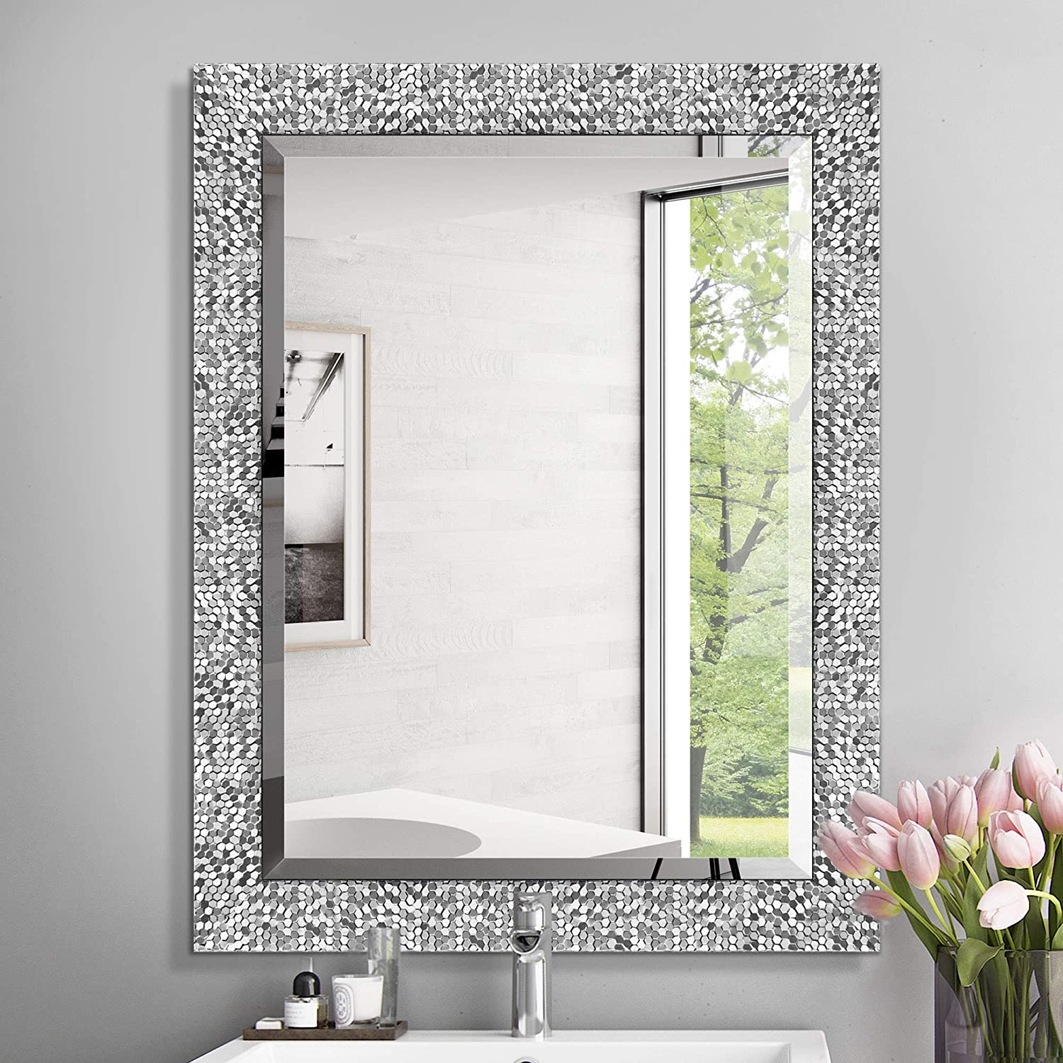 Mirror Trend 24 X 32 Inches Silver Beveled Mirrors For Wall Mirrors For Living Room Large Bathroom Mirrors Wall Mounted Mosaic Design Mirror For Wall Decorative Silver Furniture Decor