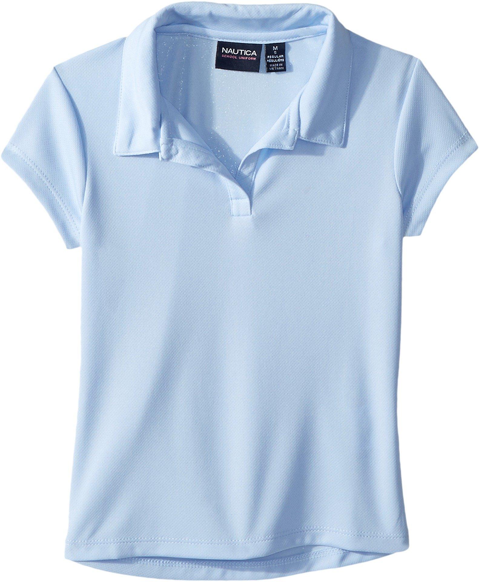 Nautica Little Girls' Short Sleeve Performance Polo, Light Blue, M (5)
