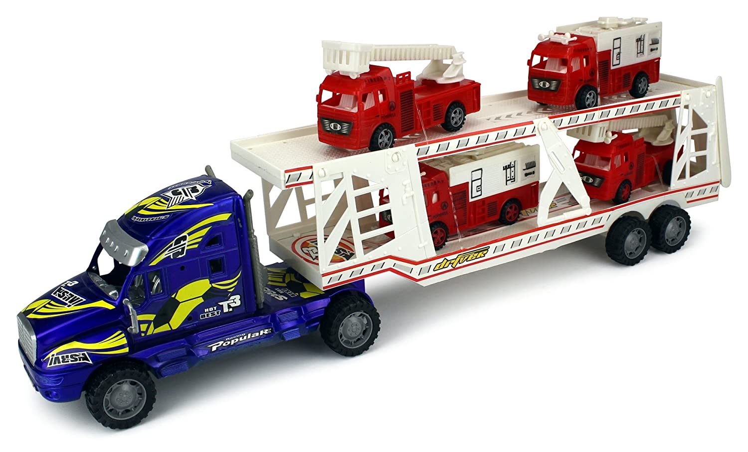 Fire Dept. Trailer Children's Kid's Friction Toy Truck Ready To Run w/ 4 Toy Fire Trucks, No Batteries Required (Colours May Vary) B01CDDWQIA