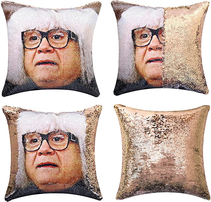 JASEN DIY Sequin Pillow Covers, Danny Devito Reversible Color Changing Pillow Case Magical Mermaid Decorative Cushion Cover with Champagne Gold Sequins