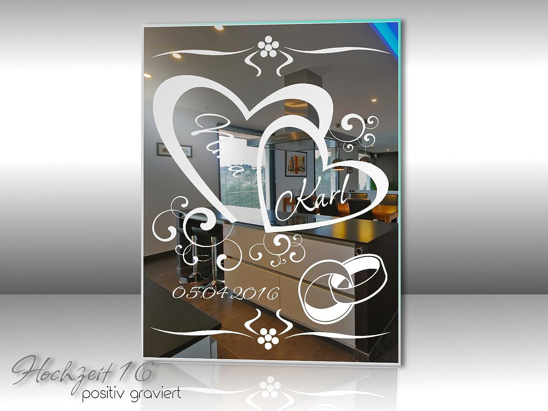 Hochzeit  Motivspiegel Silberhochzeit Goldene Bild Spiegel Gravur Namen Geschenk