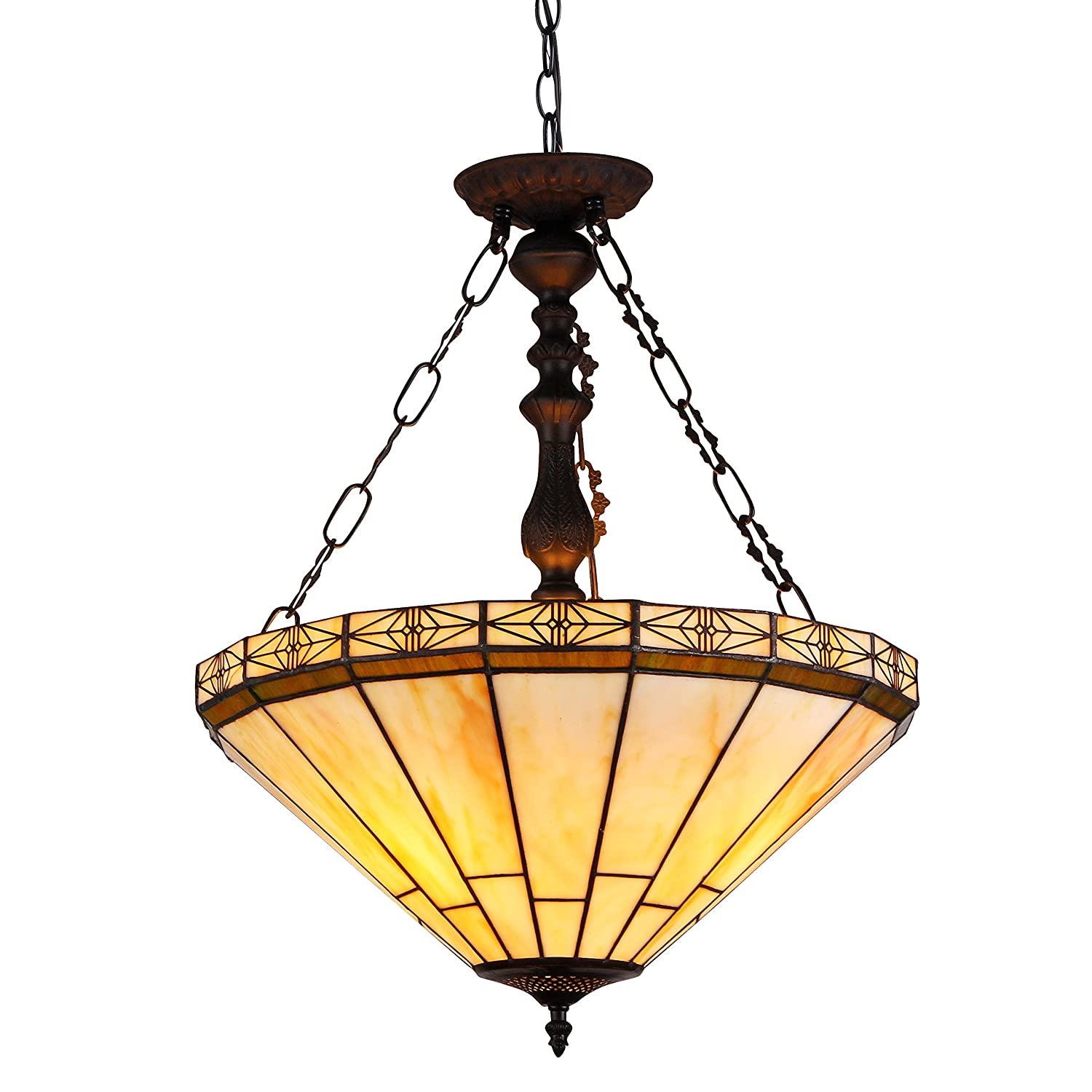 "Chloe Lighting CH31315MI18-UH2 Belle Tiffany-Style 2 Light Mission Inverted Ceiling Pendant Fixture with Shade, 23.4 x 18.3 x 18.3"", Multicolor"