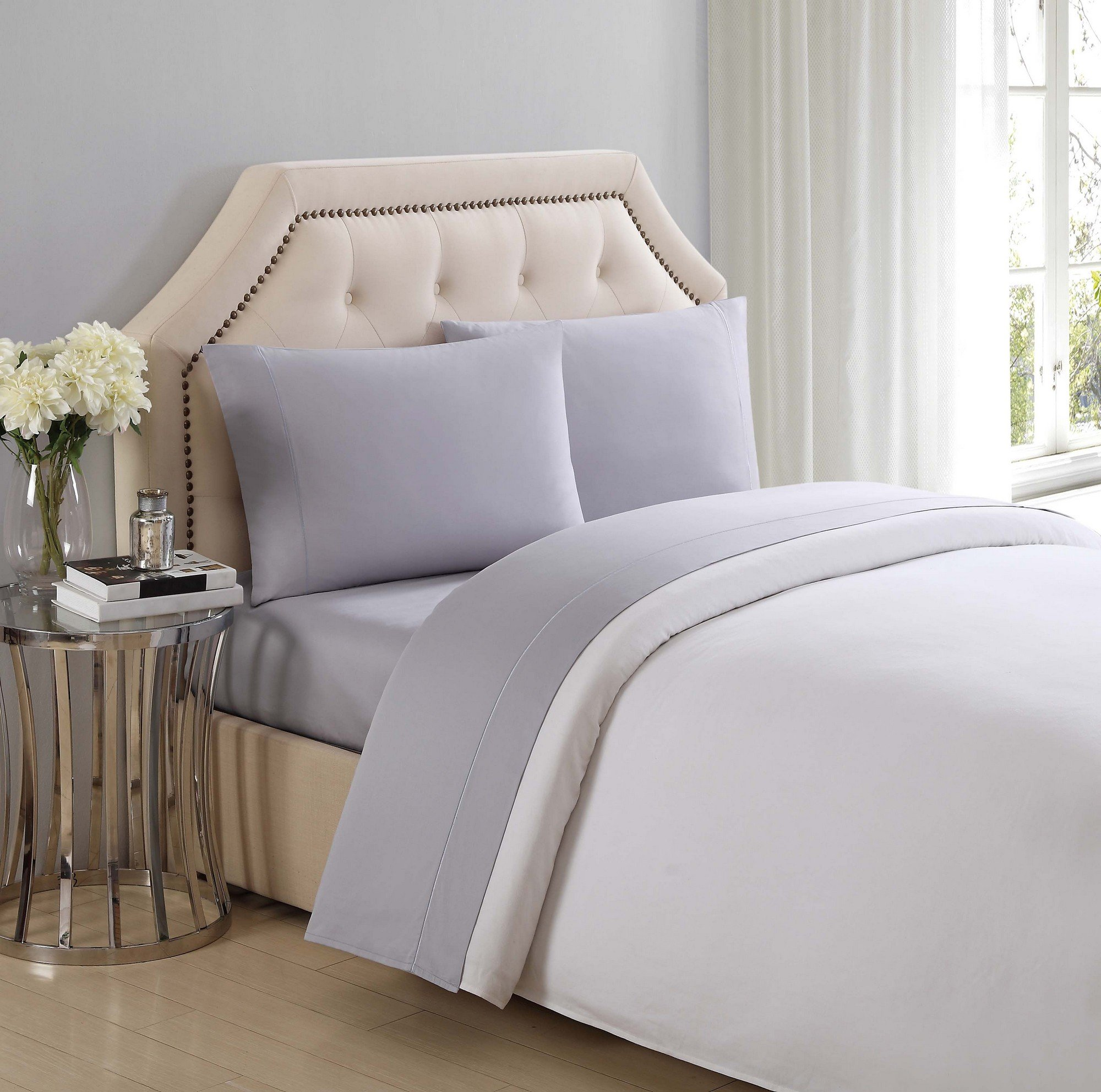 Charisma 310 Thread Count Classic Solid Cotton Sateen King Sheet Set in Rain Drops