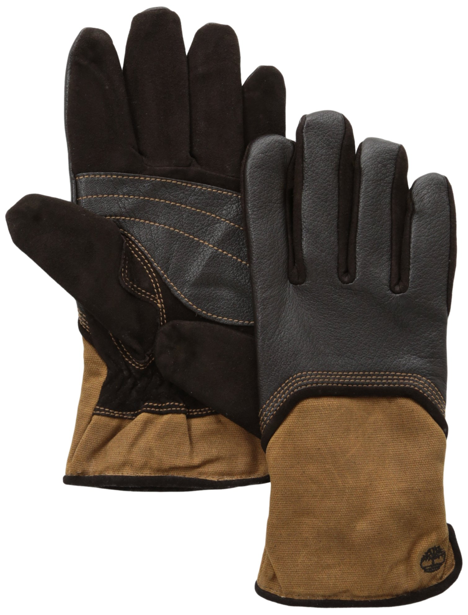 Timberland Men's Deerskin and Waxed Cotton Canvas Gloves